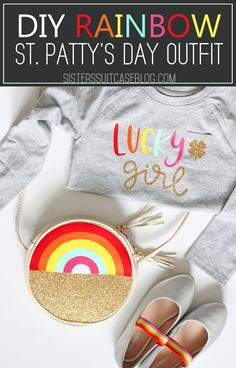 Make this DIY St. Patrick's Day outfit and rainbow purse for a lucky girl in your life! Iron-on vinyl and design files included in tutorial! Vinyl Projects, Diy Craft Projects, Crafts For Kids, Craft Ideas, St Patrick's Day Outfit, Outfit Of The Day, Rainbow Treats, Circle Purse, Rainbow Shoes