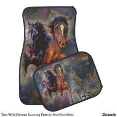 Two Wild Horses Running Free Car Mat
