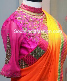 high neck blouse for pattu sarees