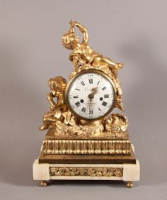 """#Clock in #gilded #bronze and white """"marble depicting the intoxication of Hercules, made by """"Cronier, Paris. #18th century. For sale on Proantic by Galerie Pellat de Villedon."""