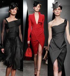 En la Coleccion de Donna Karan los colores fuetes fueron negro, gris y rojo