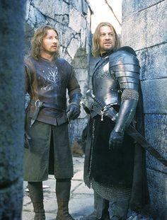 David Wenham as Faramir and Sean Bean as Boromir. The Brothers of Gondor. The Lord Of The Rings. Aragorn, Legolas, Gandalf, Tolkien, Fellowship Of The Ring, Lord Of The Rings, Narnia, Caballero Andante, Fili Und Kili