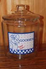 GOODIES Pillsbury Dough Boy Glass Cookie Jar - WITH GLASS LID