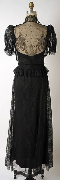 Dinner dress (image 2 - back) | House of Paquin | French | 1936-38 | silk, cotton | Metropolitan Museum of Art | Accession Number: 1978.288.15a, b
