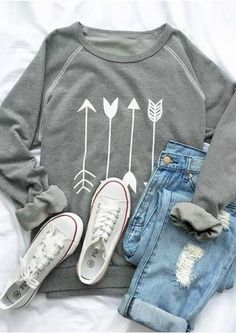 Arrow Printed Long Sleeve O-Neck Sweatshirt