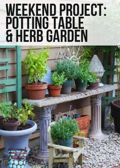Doing any gardening this weekend? Come see a charming backyard potting table and herb garden that might inspire you!