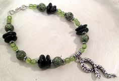 Slither (Bracelet) - Snake Magick - Russian Serpentine, Black Tourmaline, & Green Garnet - pagan - wicca - witchcraft by FiberWytch on Etsy