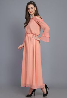 Western Dresses, Western Outfits, Party Outfits For Women, Off Shoulder Gown, Chiffon Gown, Orange Dress, Evening Party, Fashion Dresses, Gowns