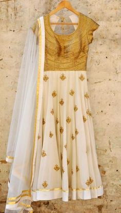 Off White & Gold Anarkali | WedMeGood Sequence gold with off white and gold anarkali. Find more on wedmegood.com #wedmegood #anarkali