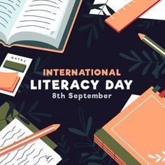 International Literacy Day, Vector Freepik, Poster, Literacy Day, International Day, Books, Watercolor Design, Open Book, Kids Reading