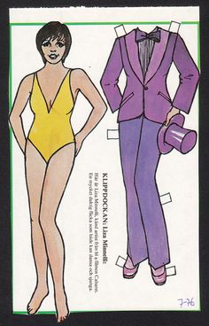 Liza Minnelli Scarce Vintage 1976 Paper Doll issued in Sweden | eBay