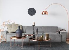 Side Table Cupid – Iron / Glass – Copper Coffee table in the noble style: Minimalist & modern Source by Elpiepe Living Room Decor Colors, Living Room Furniture, Living Room Paint, Copper Living Room, Living Room Coffee Table, Living Room Side Table, Glass Side Tables, Living Room Grey, Living Room Table