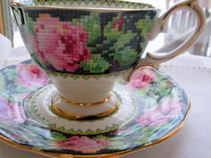 RESERVED for BC / Royal Albert Teacup and Saucer /  Tea Party / Bridal Shower /Royal Albert Cup and Saucer / Needle Point on Etsy, $39.97 CAD