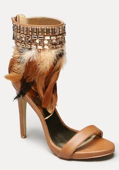 Yvana Feather Sandals - All Shoes | bebe