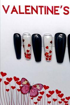 TheNailMaster.etsy.com #valentinenails Black Press, Nail Jewels, Press On Nails, Black Nails, Love Heart, Coffin, Valentine Day Gifts, Nail Art, Etsy