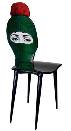 Balaclava chair by Piero Fornasetti (steel, lithographed plywood) Art Furniture, Ceramic Furniture, Unusual Furniture, Furniture Design, Contemporary Furniture, Chair Design, Painted Furniture, Piero Fornasetti, Love Chair