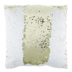 Light Gold & White Polyester Sequined Pillow There pillows area amazing.  Done in a second color on the back for the sequins allows you to do a two tones pill or two different colors.  White on it and say HI.  Etc.  On sale $17.99