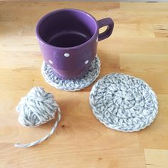 Make these easy chunky coasters with Wool-Ease Thick & Quick! Free crochet pattern by Colour and Cotton!
