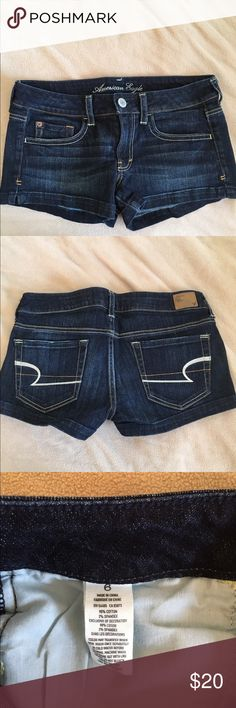 American Eagle Shortie Shorts Dark denim shortie shorts from American Eagle. Great condition. Willing to negotiate American Eagle Outfitters Shorts Jean Shorts