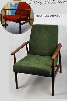 Polski mebel pochodzący z lat 70.   Meble wymagały generalnej renowacji, dlatego też ściągnięto powłoki lakiernicze, wymieniono całą tapicerkę, do wykończenia tapicerki użyto tkaniny Lincoln o niepowtarzalnej fakturze w kolorze zieleni.  Za to całość stelaża drewnianego została zabezpieczona olejem.  #Fotel300-190 #proj.H.Lis #renowacjameblikraków #renowacjafotela #forniture #prlfotel #pracowniarelamusownia Lis, Lincoln, Accent Chairs, Armchair, Furniture, Home Decor, Upholstered Chairs, Sofa Chair, Single Sofa