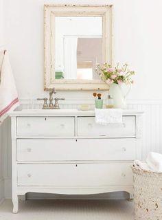 Pretty cottage bathroom with white vintage dresser turned vanity, crystal knobs, beadboard backsplash and shabby chic mirror. Diy Bathroom, Country Bathroom Designs, Diy Bathroom Vanity, Dresser Sink, Beadboard Bathroom, Bathroom Styling, Cottage Style Bathrooms, Bathroom Design, Vanity Design