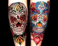 Good vs evil sugar skulls. Love the lilys on the good. Smart to incorporate real things in my life