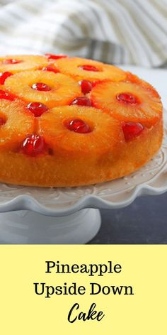 Pineapple Upside Down Cake is a classic dessert with the sweet medley of pineapples and cherries, a luxurious brown sugar topping and a soft chiffon cake base.  #pineapplecake #upsidedowncake #pineapples