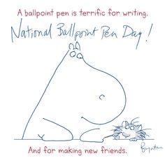 Ah! June 10 is Ballpoint Pen Day! (I've loved ballpoints forever and ever.) #nationalballpointpenday Sandra Boynton