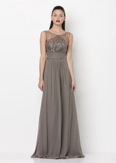 Lantern Gown by George (AUD $689.00) - Full length silk chiffon gown in Mushroom colour (as pictured).  Intricate beading on the sheer bodice, a fitted waistband and multi layer skirt give this dress a romantic, vintage feel.  Perfect for mother of the bride. Co ordinating silk chiffon scarf available.