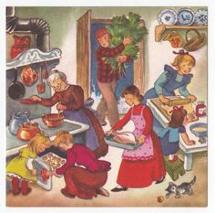 Vintage Greeting Card Christmas Family Old-fashioned Kitchen Scene Brownie