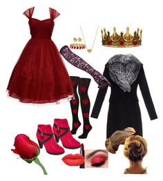 """""""Alice in Wonderland- Queen of Hearts Halloween Costumes"""" by empirestateofmindx ❤ liked on Polyvore featuring John Lewis, Unique Vintage, Minnie Grace, Alison Lou, Seletti, Two Lips, Diane Von Furstenberg and NARS Cosmetics"""