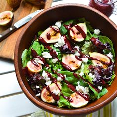 Fig and Goat Cheese Salad with Blackberry Balsamic Vinaigrette – A Dash of Soul
