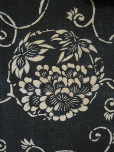 Antique Japanese cotton indigo dyed katazome.
