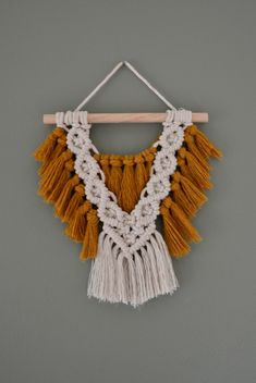 Original macrame wall hanging handmade to order in Knoxville, TN. This mini macrame hanging is the the perfect stand alone piece or accent to gallery wall. Macrame Design, Macrame Art, Macrame Projects, Macrame Knots, Macrame Wall Hanging Patterns, Macrame Patterns, Woven Wall Hanging, Macrame Plant Holder, Deco Boheme
