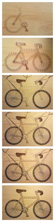 Realizzazione bici da corsa, string art! Handmade / string art / idea