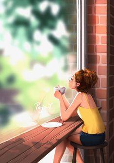 Illustration Mode, Illustration Artists, Illustrations, Digital Illustration, Alone Art, Cute Cartoon Girl, Cartoon Cartoon, Cute Girl Drawing, Girly Drawings