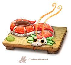 Daily Paint 1305. Dragon Roll, Piper Thibodeau on ArtStation at https://www.artstation.com/artwork/5YgWO