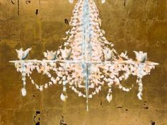 Chandelier Oil Painting with Gold Leaf by ZylstraArtGallery