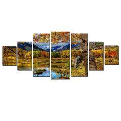 Startonight Huge Canvas Wall Art Autumn Landscape, Home Decor, Dual View Surprise Artwork Modern Framed Wall Art Set of 7 Panels Total x inch