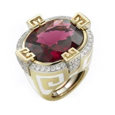 David Webb | Collections | Colors | Sunset Beach Ring Faceted rubellite, white enamel, diamonds, platinum, and textured gold
