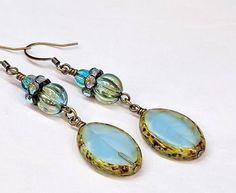 Long Iridescent Blue Earrings Czech Glass Bead Long Dangle