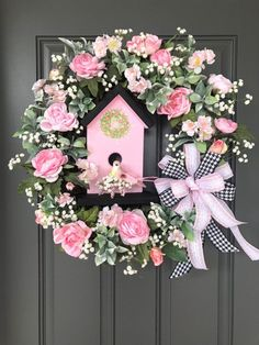 Excited to share this item from my shop: Pink Roses and Birdhouse wreath/Pink and Black Bow/Spring wreath/Summer wreath/Everyday wreath Pink Wreath, Diy Spring Wreath, Tulle Wreath, Burlap Wreaths, Ribbon Wreaths, Country Wreaths, Easter Wreaths, Holiday Wreaths, Deco Mesh Wreaths