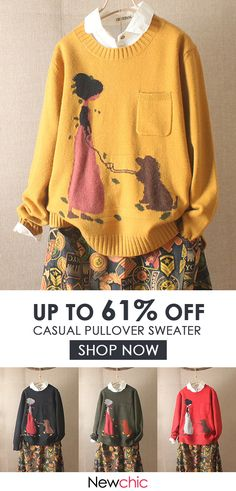 Cartoon Long Sleeve Pocket Casual Pullover Sweater is on sale at reasonable prices, having a beautiful sweater & cardigan, you can own a beautiful autumn. Pullover Sweaters, Sweater Cardigan, Granny Chic, Dress Me Up, Chic Outfits, Plus Size Women, Style Me, Autumn Fashion, Fashion Dresses