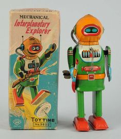 Tin Litho Interplanetary Explorer. : Wind - up. Made in Japan by Naito Shoten.