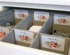 Flores para imprimir bebé vivero armario separadores por ArthurBaby