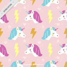 Patrón de bonito unicornio dibujado a mano con rayo Vector Gratis