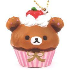 pink and brown Rilakkuma bear cupcake squishy cellphone charm 1