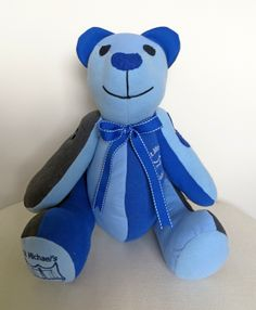 A memory bear made from school uniform that I donated to my daughters school to help to raise funds. www.treasured-teds.co.uk