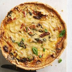 Classic quiche lovers will adore the hearty contents of this quiche, which includes pancetta, spinach, Havarti cheese, onions, and dried tomatoes. Use a springform pan to achieve the casserole's extra-deep crust./