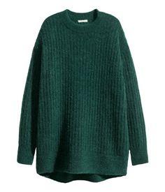 Oversized trøje i mohairmix | Mørkegrønmeleret | Dame | H&M DK
